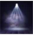 Spotlight disco illuminated wooden scene vector image vector image