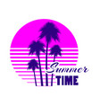 summer time retro futuristic landscape with palm vector image vector image