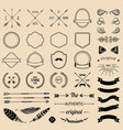 vintage hipster logo elements with arrowsribbons vector image