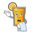 waiter orange juice mascot cartoon vector image vector image