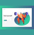 weightlift bodybuilding character for landing page vector image vector image