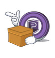 with box pivx coin character cartoon vector image vector image