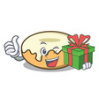 with gift donut with sugar mascot cartoon vector image vector image
