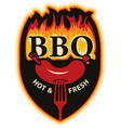 words bbq in flames and sausage on fork vector image