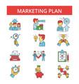marketing plan thin line icons vector image