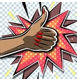 Female hand class in comics style with explosion vector image