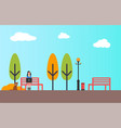 autumn people in flat style woman freelancer vector image