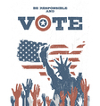 Be responsible and Vote On USA map Vintage vector image vector image