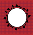 black flower wreath on a red background vector image vector image