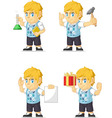 Blonde Rich Boy Customizable Mascot 6 vector image vector image