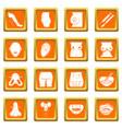 body parts icons set orange square vector image vector image