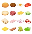 Burger isometric Burger ingredients on white vector image vector image