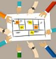 business model framework team discuss plan vector image vector image