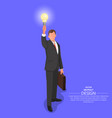 businessman holds the shining bulb vector image