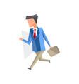 businessman walking with briefcase cartoon vector image vector image