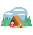 camping and hiking in forest man in tent vector image vector image