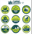 camping and recreation retro vintage green badge vector image