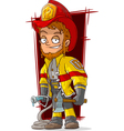 Cartoon fireman chief in cool uniform vector image vector image
