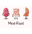 cartoon meat food characters with smiley faces vector image vector image
