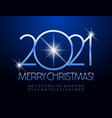 chic greeting card merry christmas 2021 alphabet vector image vector image