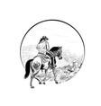 cowboy rides in mountains vector image vector image
