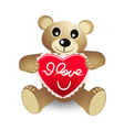 cute bear with red heart vector image vector image