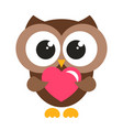 cute brown owl with heart vector image vector image