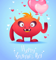 Cute cartoon monster in love holding a pink heart