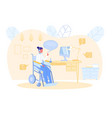 disabled handicapped woman on wheelchair working vector image vector image