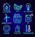 eco neon label set vector image vector image