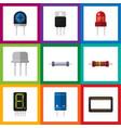 flat icon electronics set of resistor display vector image vector image