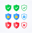 flat icon shield with padlock check mark error vector image