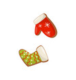 gingerbreads in shape of sock and mitten decorated vector image vector image