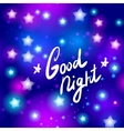Good night letter Abstract neon star on blue vector image vector image