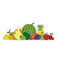 group of fresh fruit isolated on white background vector image
