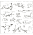 Hand drawn element drone and controller connecting vector image vector image