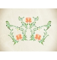 Hand drawn orange vintage floral ornament vector image vector image