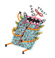 hand drawn sketchy flying fun monster flying vector image vector image