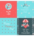 Happy Valentines Day Cards Set vector image vector image