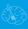 human brain with fork icon outline style vector image vector image