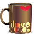 i love cocoa cup vector image vector image