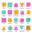 math science icon set in line style vector image vector image