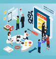 mobile games development isometric composition vector image vector image