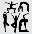modern dance and sport female action silhouette vector image