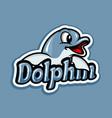 modern dolphin mascot logo vector image vector image