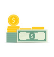 money dollar stack banknote and golden coins stack vector image