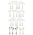 park and street lamp posts and lanterns isometric vector image