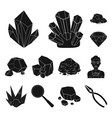 precious minerals black icons in set collection vector image vector image
