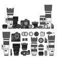 professional photo cameras line monochrome vector image vector image