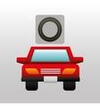 red car front circle road way design vector image vector image